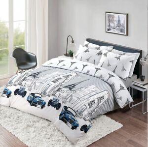 Paris Print Grey Duvet Cover 100% Cotton 200TC Kids Bedding Set Double King Size