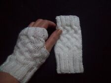 LADIES hand knitted FINGERLESS GLOVES wrist warmers WHITE GLITTER one size NEW