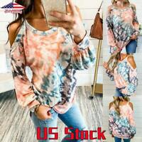 Womens Tie Dye Cold Shoulder Loose T-Shirt Blouse Ladies Casual Long Sleeve Tops
