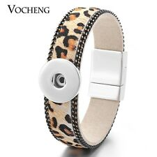 Vocheng Leopard Print Magnet Clasp 18mm Snap Wrist Bracelet NN-445