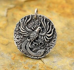 925 Sterling Silver Phoenix Ancient Coin Mens Jewelry Pendant Necklace 6269