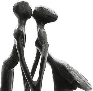 Oak Tree Black Cast Iron Standing Embrace Kissing Couple Engagement Wedding Gift