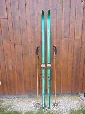 "OLD Interesting Vintage Wooden 81"" Long Skis GREEN Finish Signed LAMPINEN"