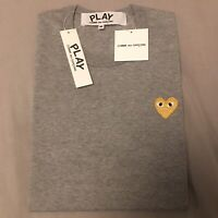 Men's Comme des Garcons Play Gold Heart Gray Cotton Logo Tee T-shirt M