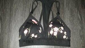 VS pink ultimate triangle gym 2 swim sport bra NEW small black floral