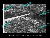OLD LARGE HISTORIC PHOTO BIRMINGHAM ENGLAND AERIAL VIEW OF NECHELLS c1950 1
