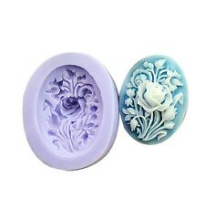 Floral Brooch Mold - Cameo - Silicone Cake Cupcake Mold Mould Cake Decorating