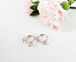 Nipple rings Pink and white pearls  2pcs Non Piercing adjustable NippleRings