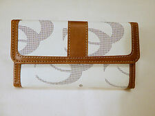 Womens Off White and Brown Checkbook Wallet