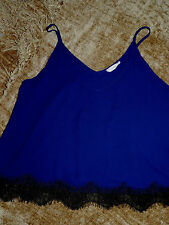 NEW - Juniors Sleeveless Lightweight Navy & Lace Blouse (Size Med) MADE IN USA