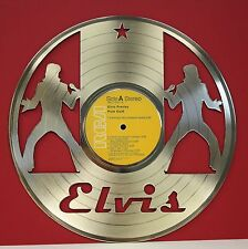 """Elvis Presley """"Pure Gold"""" Laser Cut Gold LP Record Limited Edition Wall Art"""