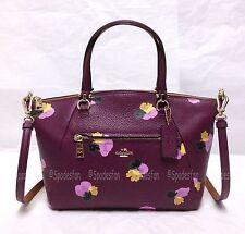Coach 37159 Floral Print Leather Prairie Satchel Bag Purse PLUM PURPLE NWT