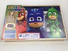 PJ Masks - 7 Wood Jigsaw Puzzles Set in Wooden Storage Box
