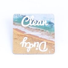 """Beach Clean Dirty Dishwasher Magnet Sign Indicator 2"""" Square"""