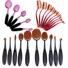 10Pcs Toothbrush Elite Oval Make up Brushes Set Powder Foundation Contour Black
