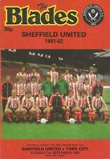 Sheffield United v York City - League Cup - 1/9/1981 - Football Programme