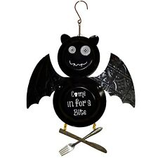 "Black Bat ""Come in for a Bite"" Halloween Enamel Plate Hanging Sign Decor"