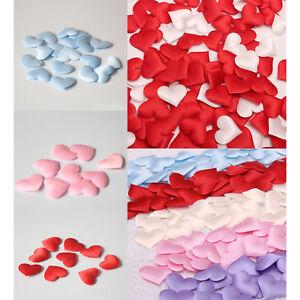 100x Satin Padded Love Heart Throwing Petals Fabric Table Craft Wedding Decor