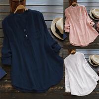 Plus Size Womens Ladies Casual Long Sleeve Cotton Linen T-Shirt Tops Blouse
