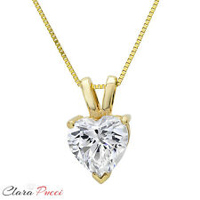 "2.0Ct Heart Cut 14K Yellow GOLD SOLITAIRE PENDANT NECKLACE + 16"" CHAIN"