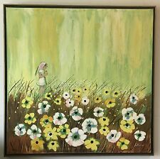 Whimsical Oil on Canvas Paiting of Young Girl in a Prairie by Artist Leone