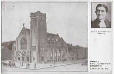 Lancaster PA Grace Ev. Lutheran Church Rev. Haupt Buggy 1911 Vintage Postcard