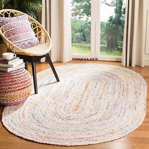Rug Braided Style  100% Cotton Natural Reversible Oval Rug Handmade Area Rugs