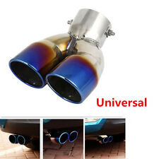 Durable Blueing Chrome Car SUV Rear Dual Exhaust Pipe Tail Muffler Tail Throat