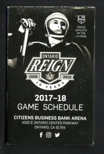 Ontario Reign--2017-18 Pocket Schedule--Mt Baldy--Kings Affiliate