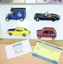 Corgi Toys 1:43 CSMA FORD CAPRI JAGUAR MINI BULL NOSE MORRIS + Plinth Gift Set