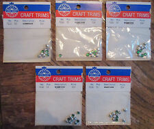 50 Rhinestones Emerald Green Sew On 5mm Silver Set Doll Baby Buttons Craft Beads
