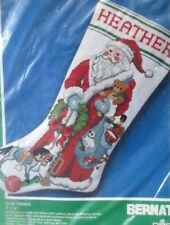 BERNAT DMC ctd cross stitch kit christmas stocking glad tidings 1990