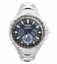 New Seiko Coutura Radio Sync Solar Chronograph Stainless Steel Mens Watch SSG009
