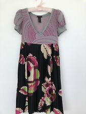 CUSTO BARCELONA PLEATED DRESS/ SIZE 2/ EMPIRE LINE/ GREY & PINK/ GORGEOUS