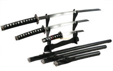 3pc Black Classic Japanese Samurai Katana Sword Set Sword