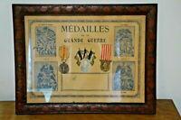 CADRE ANCIEN MEDAILLES DE LA GUERRE 14/18 MILITARIA