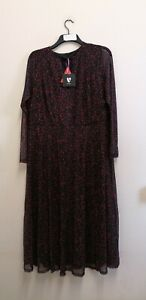V By Very Curve Mesh Midi Dress - Pink/Print size 22 {B111}