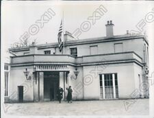 1934 Dublin Ireland US Flag at Half Mast Over American Legation Press Photo
