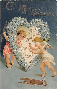 H66/ Valentine's Day Love Holiday Postcard c1910 Blindfold Cupid Heart 10