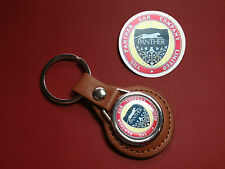 PANTHER CAR COMPANY REAL LEATHER KEY RING + FREE PANTHER PHONE STICKER