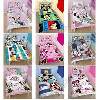 DISNEY MICKEY OR MINNIE MOUSE SINGLE DUVET COVER SETS KIDS BEDROOM BEDDING