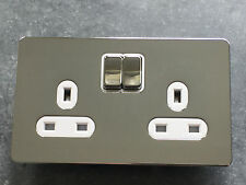 4xGET Ultimate screwless flat plate 2 gang 13A Switched Socket Polished Chrome.