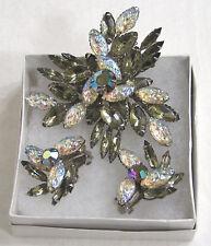 Vintage Jewelry Beau Jewels Brooch Earrings Demi Parure Smoky Navettes Art Glass