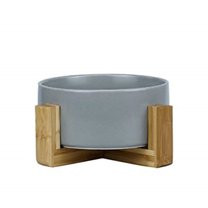 HCHLQLZ Grey Ceramic Cat Bowl with Wood Stand No Spill Pet Food Water Feeder