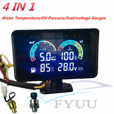 4in1 LCD Car Excavator 12/24V Water Temperature/Oil Pressure/Fuel/Voltage Gauge