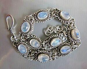 VTG Estate Sterling Silver & Natural Moonstone Gemstone Panel Bracelet (#00028)