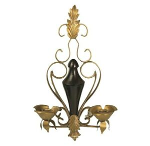 Vintage Wood Gold Metal Leaf Scrolling Double Candle Holder Wall Sconce Decor