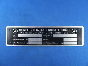 Mercedes Benz ID Plate / Tag for Many Models 1953 to 62 190SL 220S 300SL German