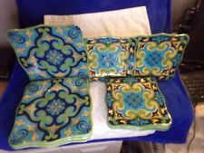 Melamine 5 Dinner 7 Luncheon/ Salad plate Green, Blue Yellow Colorful