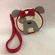 Betsey Johnson Contact Travel Case Wristlet Gray Bulldog BJ56000P Dog